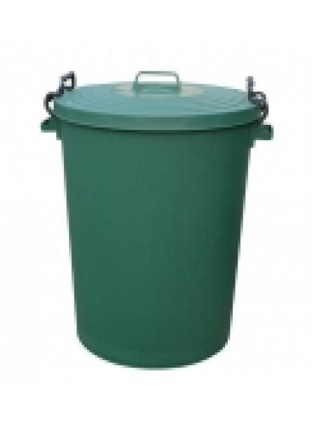 110LTR BIN C/W CLIPON LID GREEN