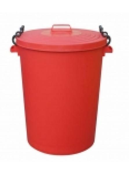 110ltr Bin C/W Clipon Lid Red