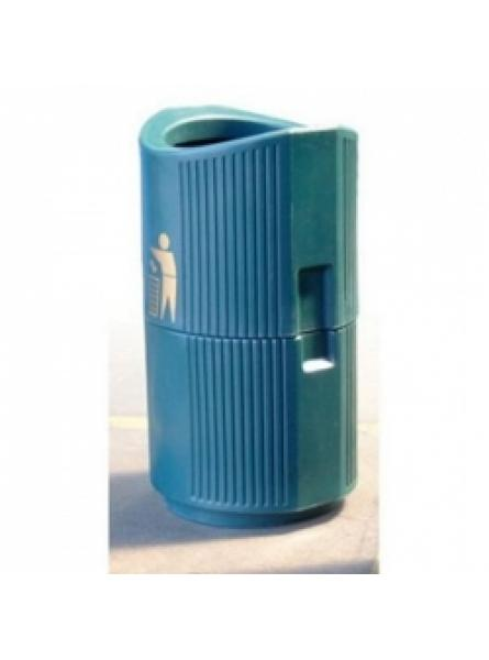 24 Ltr Hooded Bin, W/Mounted C/W Galv Liner + Lock, Green