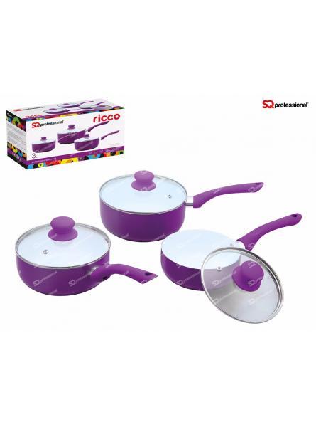 3 Piece Saucepan Set, Purple