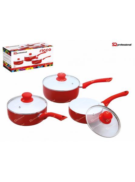 3 Piece Saucepan Set, Red