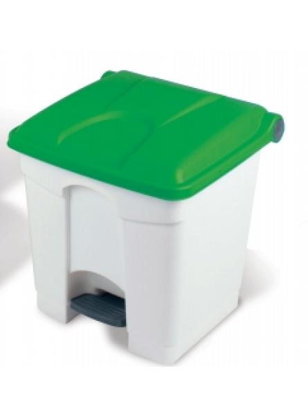 30l Step-On Container White Base Green Lid