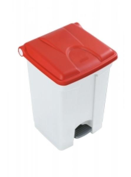 30l Step On Container White Base Red Lid