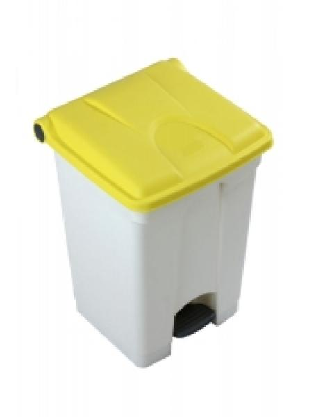 30l Step On Container White Base Yellow Lid