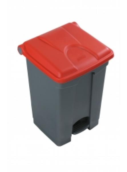 30l Step On Container Grey Base Red Lid