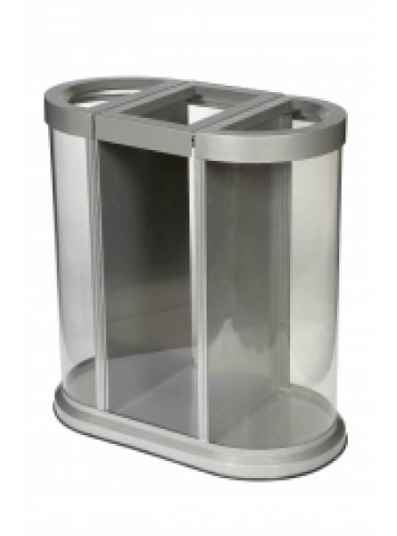 150l Trio Clear Waste Station 85 x 82.5 x 45cm Clear/Silver (WS-2001-CLR)