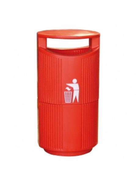 94 Ltr Hooded Bin C/W Galv. Liner And Lock, Red
