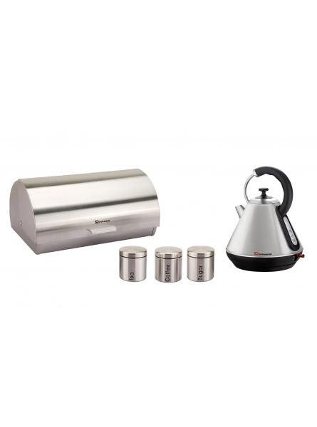 Matching Kitchen Set of Two items : Electric Kettle,Bread Bin and Canisters in Silver