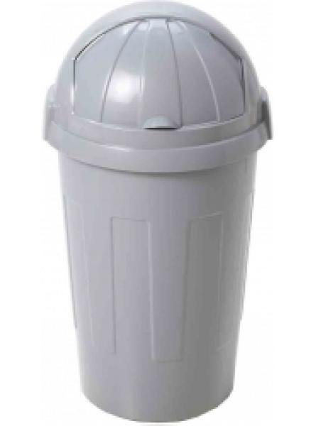 50L plastic roll top bin in grey