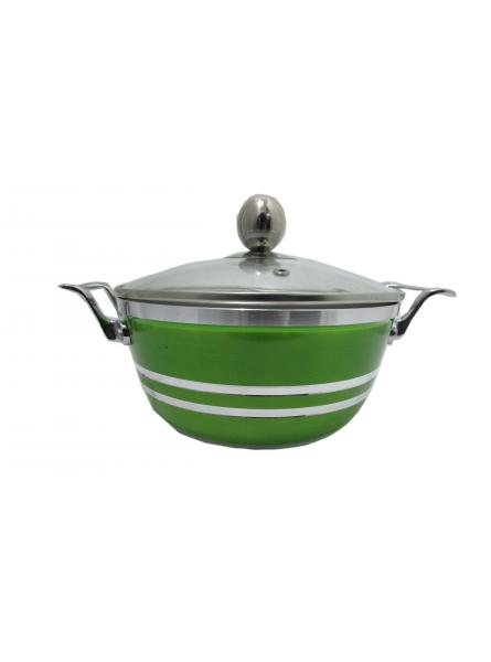 20cm Die-Cast Ceramic Non-Stick Casserole Stockpot With Glass Vented Lid (Emerald Green)