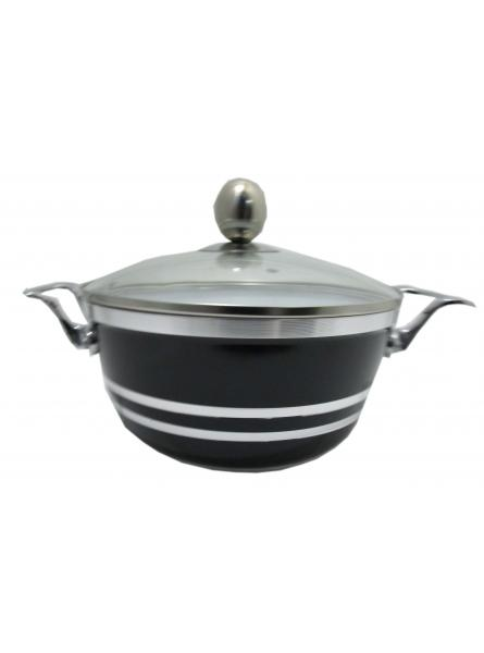 20cm Die-Cast Ceramic Non-Stick Casserole Stockpot  With Glass Vented Lid (Onyx Black)