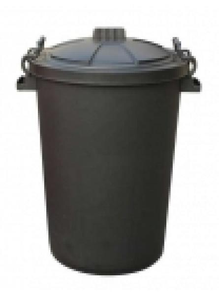 85 LTR BIN C/W CLIPON LID BLACK