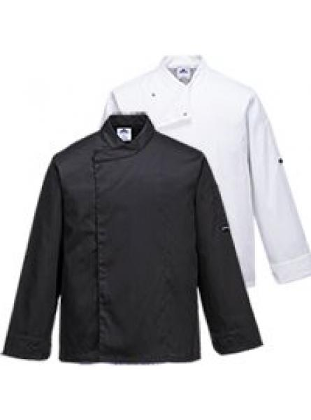 Cross-Over Chefs Jacket  Black/White