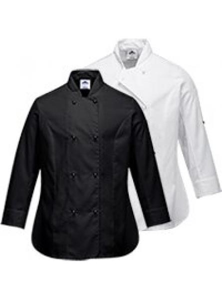 Rachel Ladies Chefs Jacket  Black/White