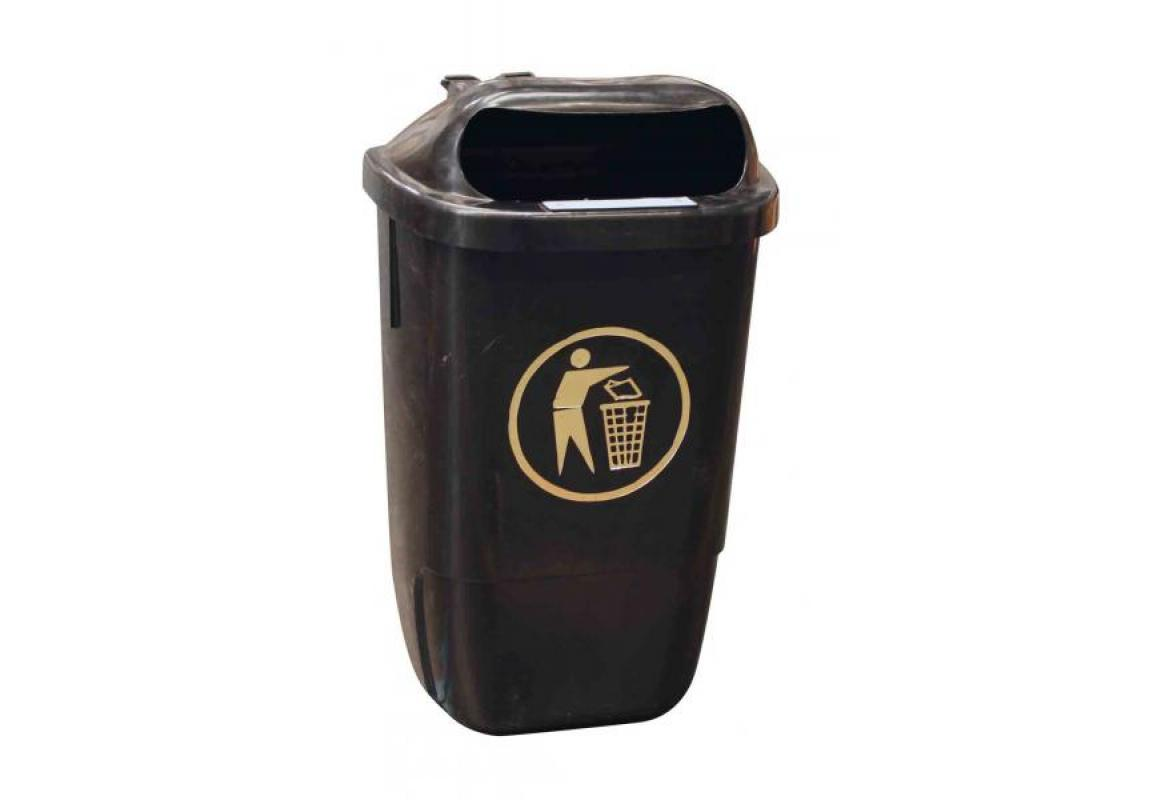 50 Litre Post Mountable Litter Bin (Complete With Fittings