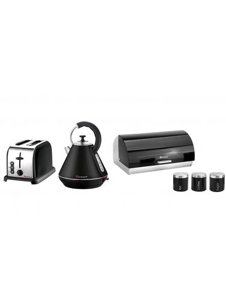 Matching Kitchen Set of Three items: Electric Kettle, Bread Bin and Canisters and Two Slice Toaster in Black