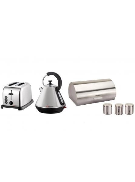 Matching Kitchen Set of Three items: Electric Kettle, Bread Bin and Canisters and Two Slice Toaster in Silver