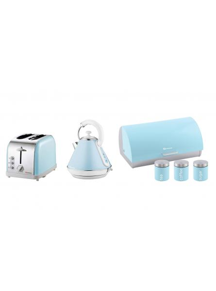 Matching Kitchen Set of Three items: Electric Kettle, Bread bin and canisters and Two Slice Toaster in Light Blue