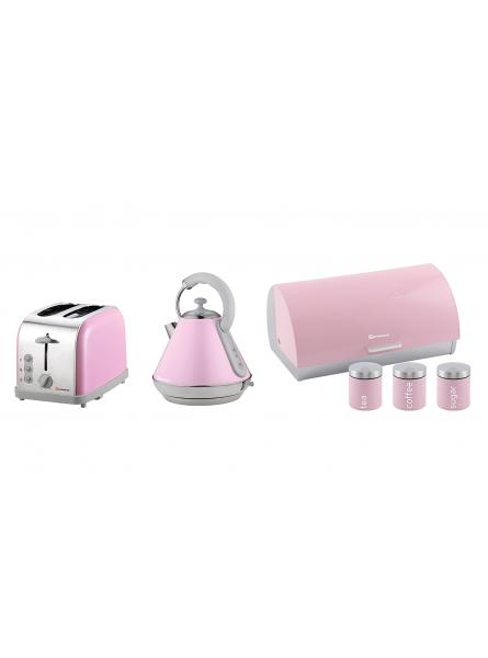 Matching Kitchen Set of Three items: Electric Kettle, Bread bin and canisters and Two Slice Toaster in Pink