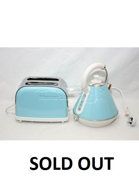 SQPRO Kitchen Set Electric 1.8L Traditional Cordless Kettle and 2 Slice Toaster in Light Blue.