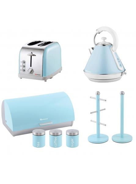 Matching Kitchen : Two Slice Toaster, Electric Kettle, Bread Bin And Canisters And Mug Tree In Light Blue.