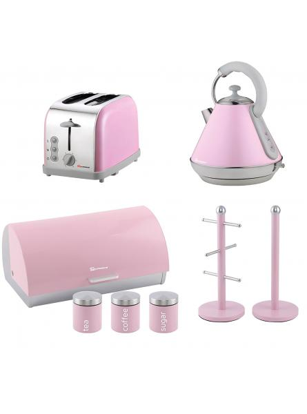 Matching Kitchen Set of Four items: Two Slice Toaster, Electric Kettle, Bread bin and canisters and Mug Tree and Kitchen Roll Holder Stand Set in Pink