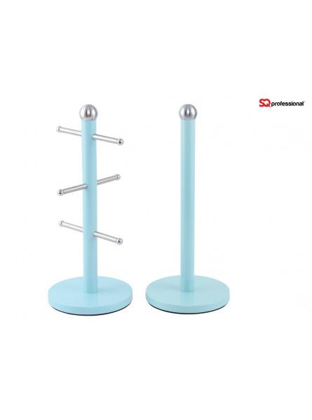 Mug Tree and Kitchen Roll Holder Stand Set in Light Blue,