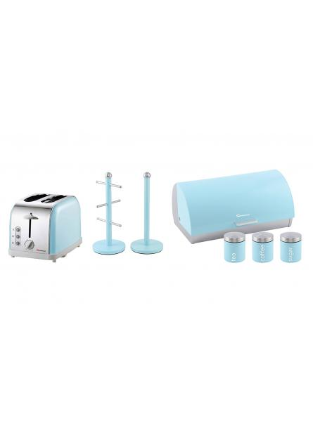 Matching Kitchen Set of Three items: Bread bin and canisters, Two Slice Toaster and Mug Tree and Kitchen Roll Holder Stand Set in Light Blue