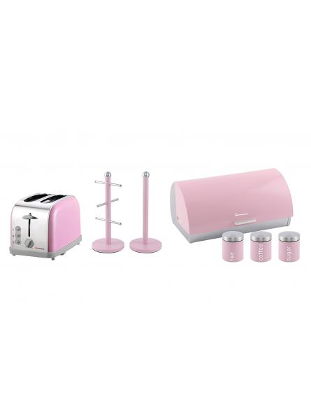 Matching Kitchen Set of Three items: Bread bin and canisters, Two Slice Toaster and Mug Tree and Kitchen Roll Holder Stand Set in Pink