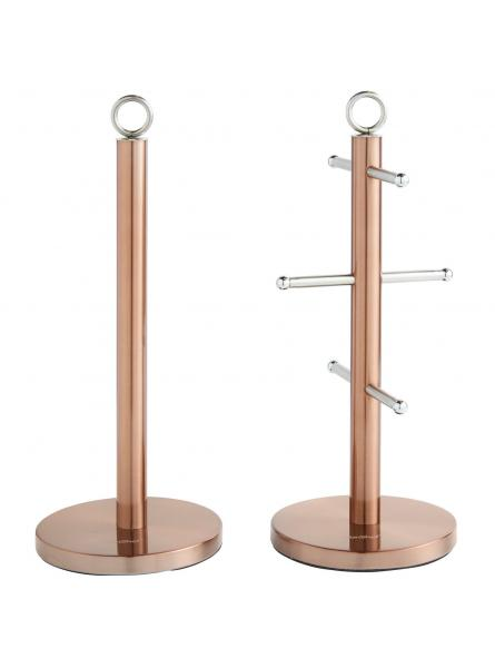 Mug Tree and Kitchen Roll Holder Stand Set in Copper