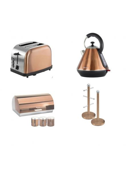 Matching Set: Bread Bin And Canisters +Toaster + Kettle + Mug Tree And Kitchen Roll Holder Stand Set In Copper