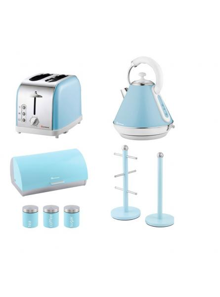 Matching Set: Bread Bin And Canisters +Toaster + Kettle + Mug Tree And Kitchen Roll Holder Stand Set In Light Blue