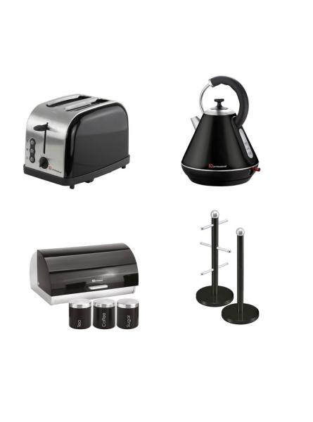 Matching Set: Bread Bin And Canisters +Toaster + Kettle + Mug Tree And Kitchen Roll Holder Stand Set In Black