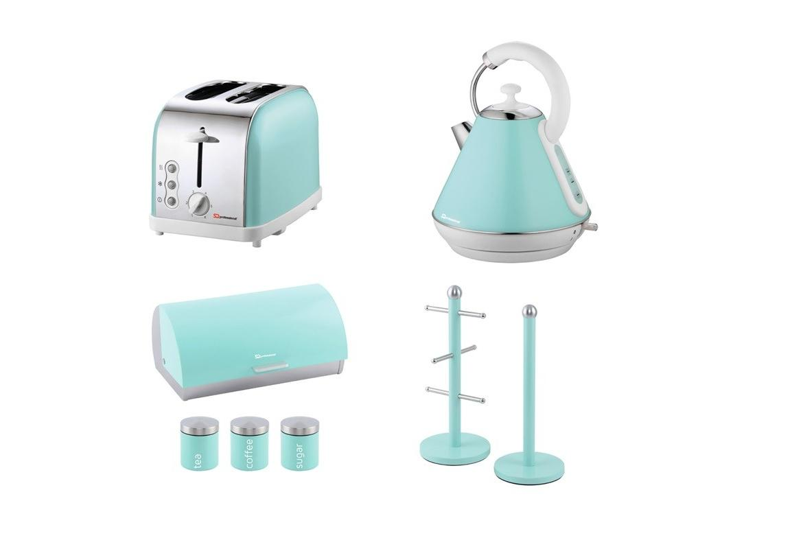 Matching Set: Bread Bin And Canisters +Toaster + Kettle + Mug Tree And Kitchen Roll Holder Stand Set In Mint Green