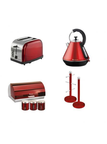 Matching Set: Bread Bin And Canisters +Toaster + Kettle + Mug Tree And Kitchen Roll Holder Stand Set In Red