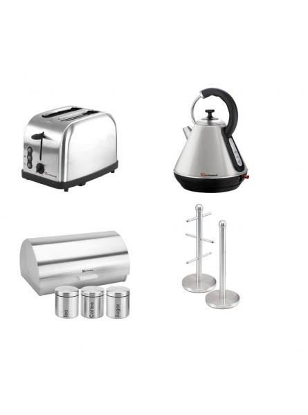 Matching Set: Bread Bin And Canisters +Toaster + Kettle + Mug Tree And Kitchen Roll Holder Stand Set In Silver