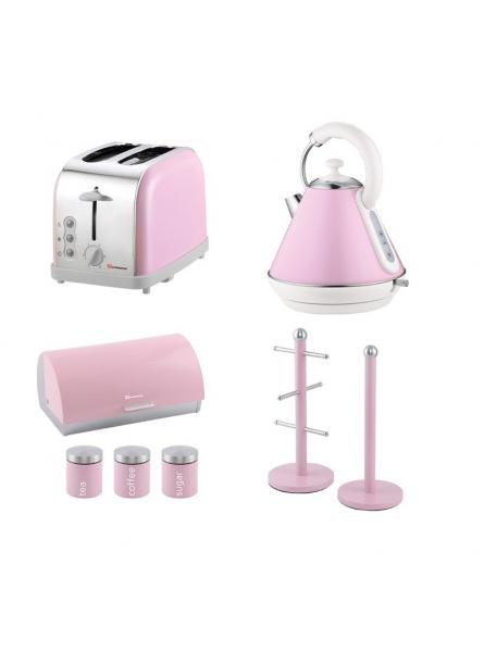 Matching Set: Bread Bin And Canisters +Toaster + Kettle + Mug Tree And Kitchen Roll Holder Stand Set In Pink