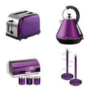 Matching Set: Bread Bin And Canisters +Toaster + Kettle + Mug Tree And Kitchen Roll Holder Stand Set In Purple