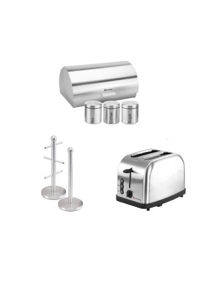 Matching Set: Bread Bin And Canisters, Toaster And Mug Tree And Kitchen Roll Holder Stand Set In Silver