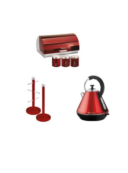 Matching Set: Mug tree+Kettle+Bread Bin and canisters in Red