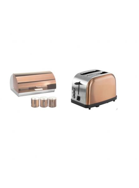 Matching Set: Bread Bin And Canisters + Toaster In Copper