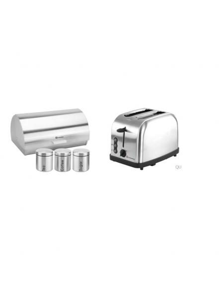 Matching Set: Bread Bin And Canisters + Toaster In Silver