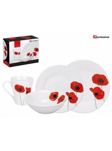 Onya High Quality Fine Porcelain 16pc Dinner Set in Luxury Design, Red