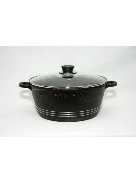 32cm die cast non stick deep induction casserole pot cookware glass lid black
