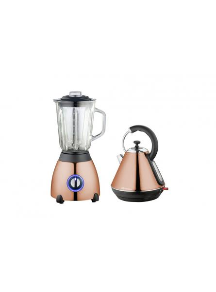 Axinite Electric Kettle & Blender Set, Stainless Steel – Copper.