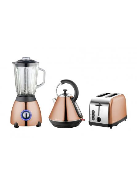Axinite Electric Kettle, Toaster & Blender Set, Stainless Steel – Copper.