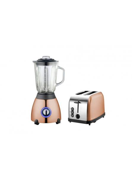 Axinite Toaster & Blender Set, Stainless Steel - Copper .