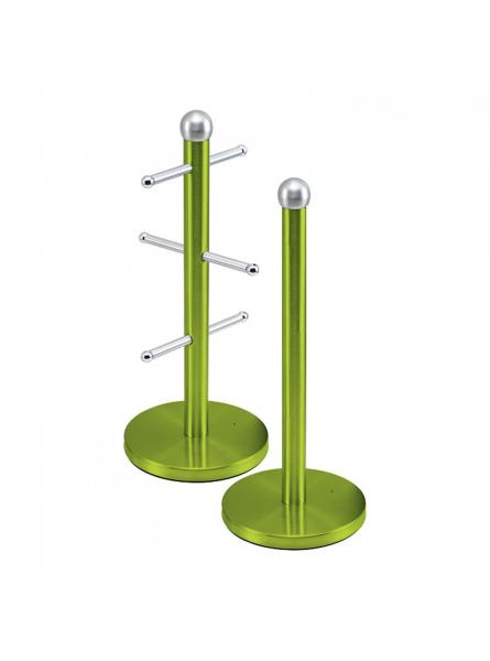 Mug Tree And Kitchen Roll Holder Stand Set In Green