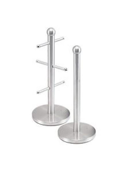 Mug Tree And Kitchen Roll Holder Stand Set In Silver