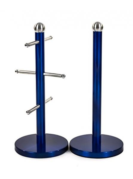 Mug Tree And Kitchen Roll Holder Stand Set In Blue